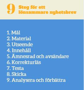 checklista nyhetsbrev 9 steg